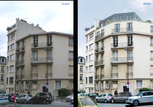 Surélévation d'un bâtiment à paris (projet)